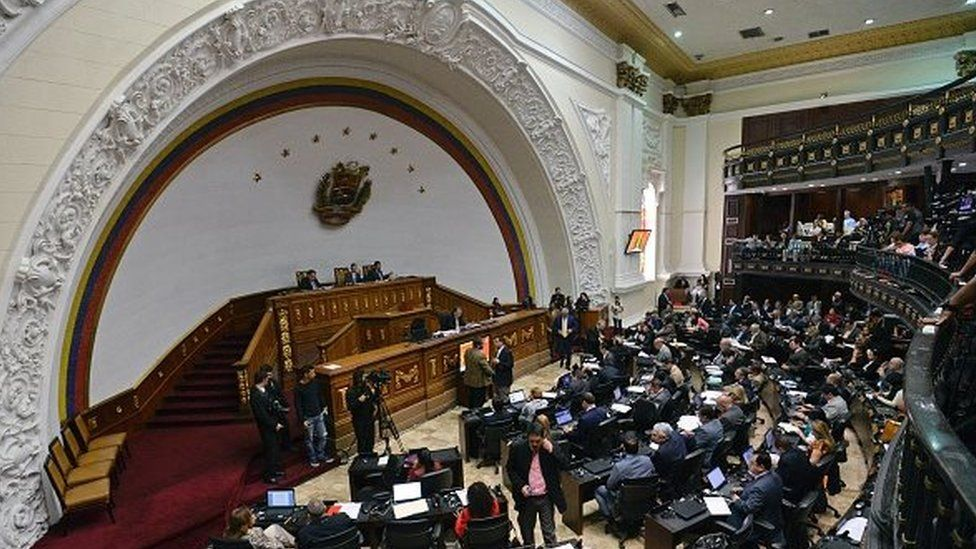 View of the Venezuelan National Assembly during a session in Caracas on March 3, 2016