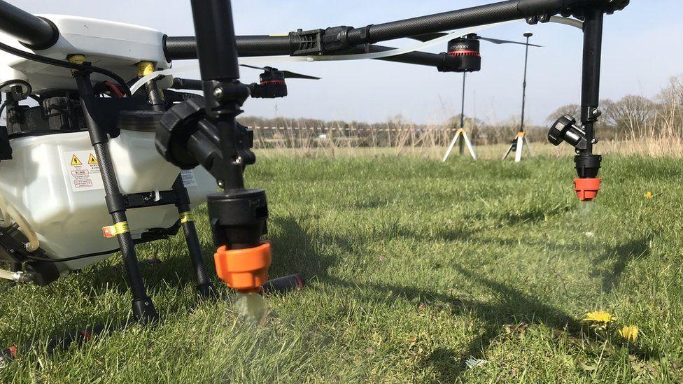 close up drone spray