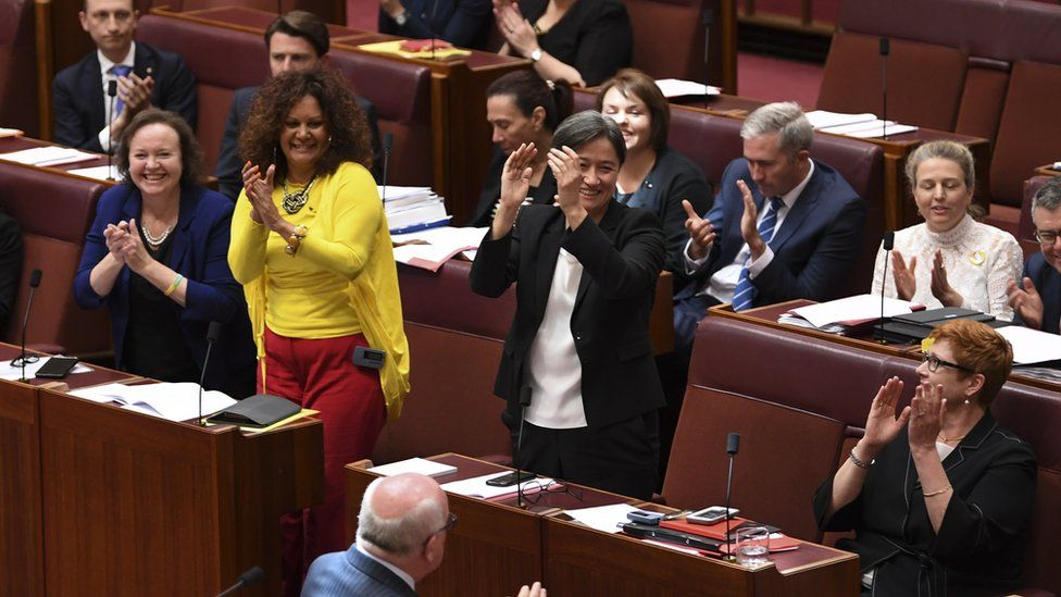 Australian senators celebrate the passage of the same-sex marriage bill