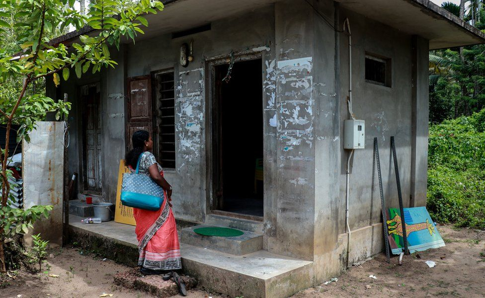 Sandhini visiting the day care centre which she cleaned up with other Kudumbashree members.
