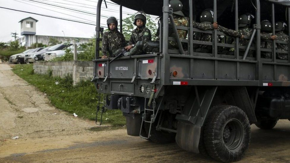 Members of the Brazilian Army continue to secure a jail where a riot on 18 February left three dead inmates in the municipality of Japeri, Rio de Janeiro, Brazil, 21 February 2018.