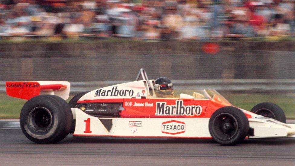 James Hunt winning the British Grand Prix in 1977