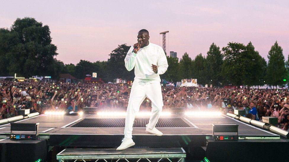 Stormzy performing at Wireless