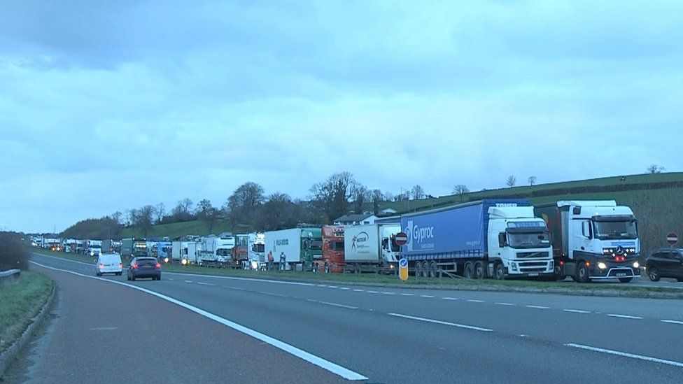 A build-up of traffic on the A1