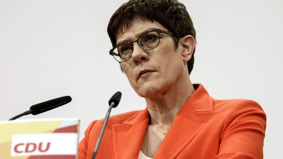 Annegret Kramp-Karrenbauer, leader of the German Christian Democrats (CDU), attends a press conference at CDU headquarters in Berlin, 7 February 2020