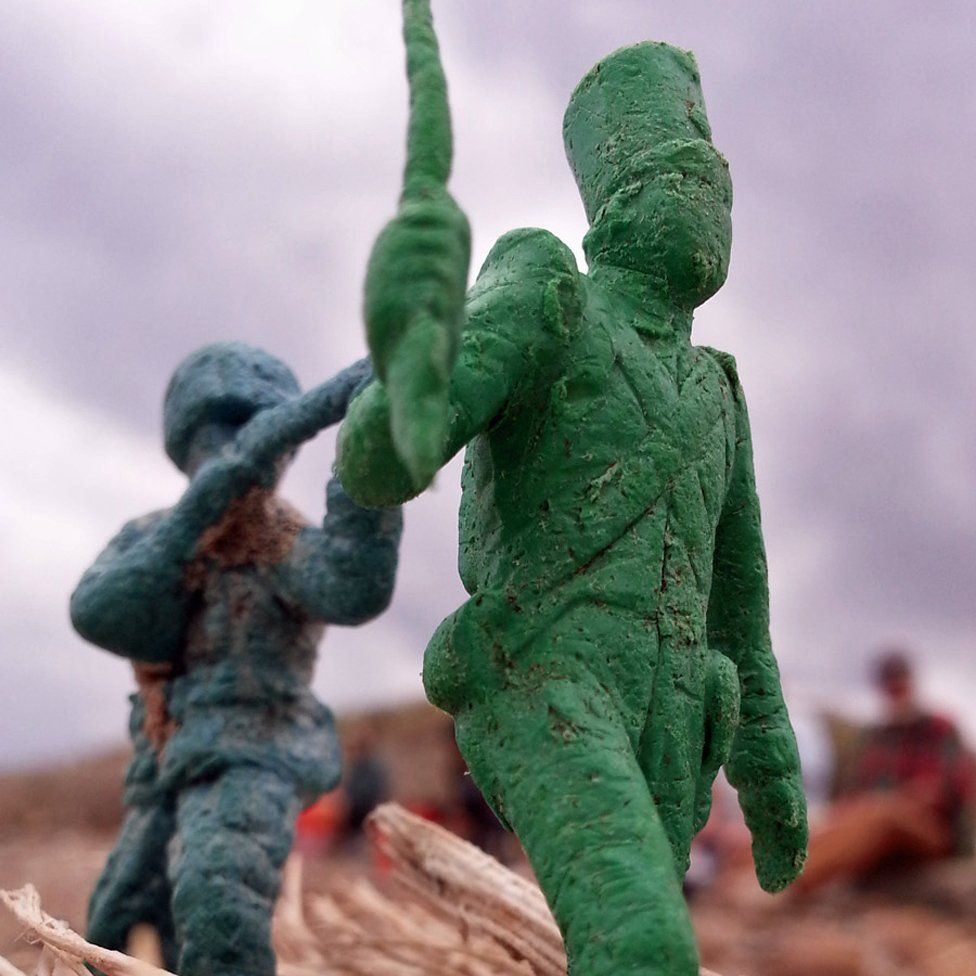 Tsunami debris - a plastic toy soldier that came ashore in Hawaii