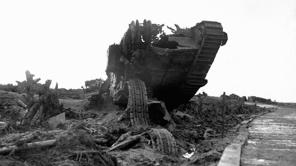 the wreckage of a British tank beside the infamous Menin Road near Ypres, Belgium