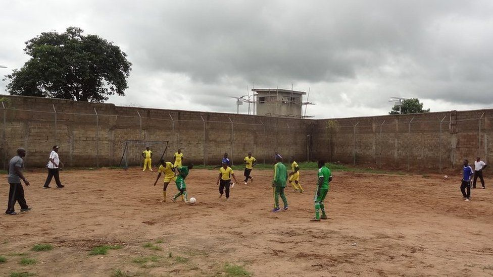 Ex-Boko Haram members play football in prison in Nigeria
