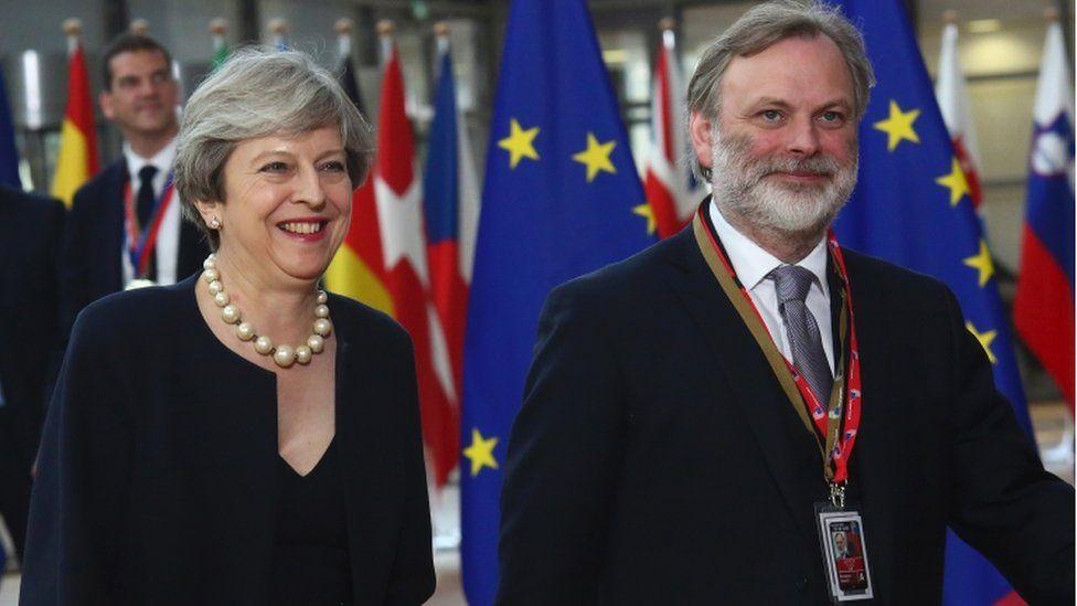 Theresa May and Sir Tim Barrow arrive