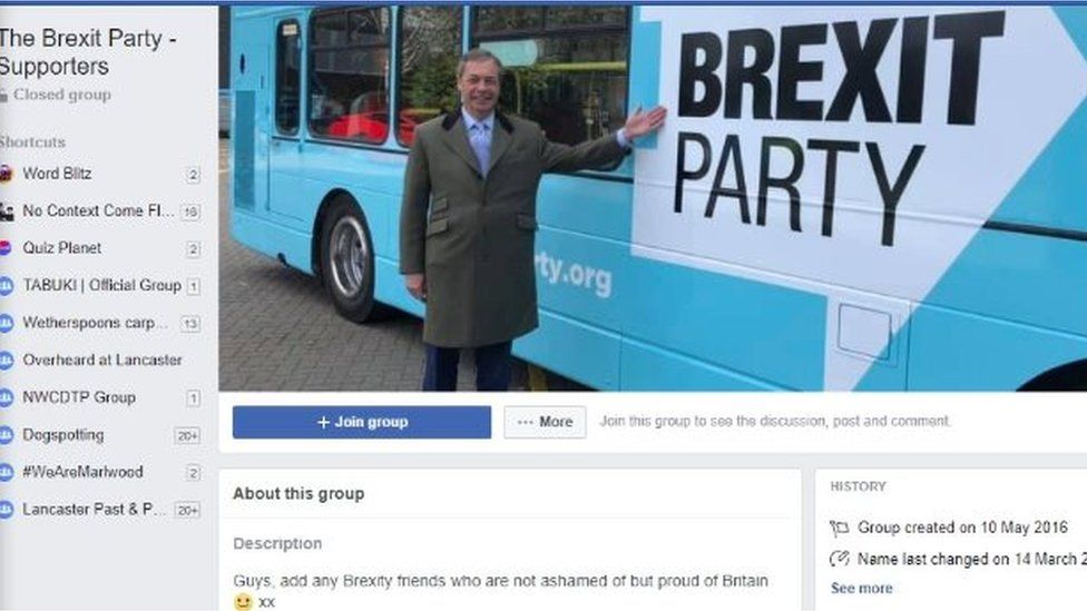 """A screenshot of the """"Brexit Party - Supporters"""" group"""