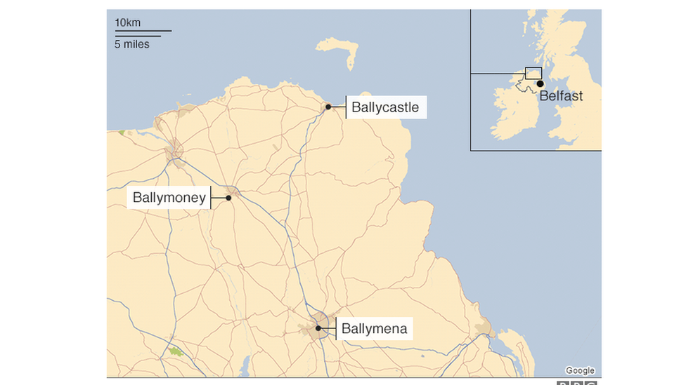 A map showing the three signing centres