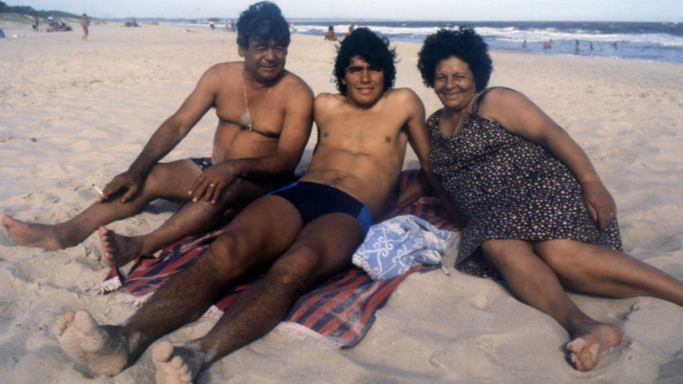 The new film shows footage of a young Maradona with his mother Dalma and father, also named Diego