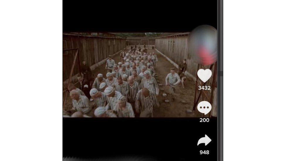 Screenshot of a Holocaust film