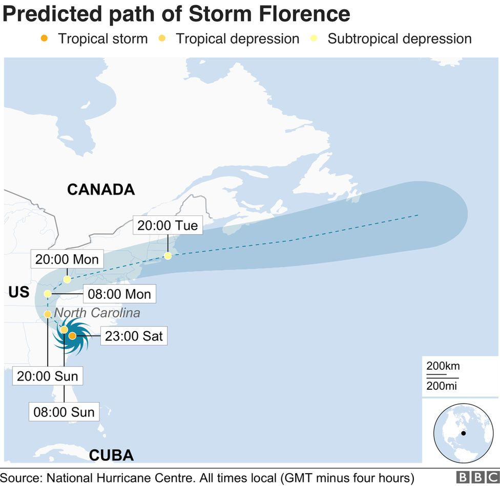 A map showing the path of Storm Florence