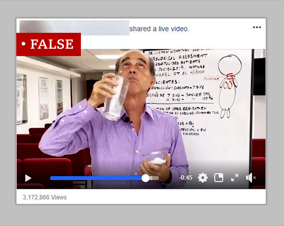 Screenshot of a video which makes a false claim about gargling salt water