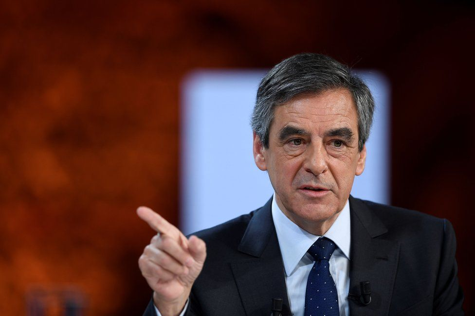 Francois Fillon delivers a speech in Paris, 21 February