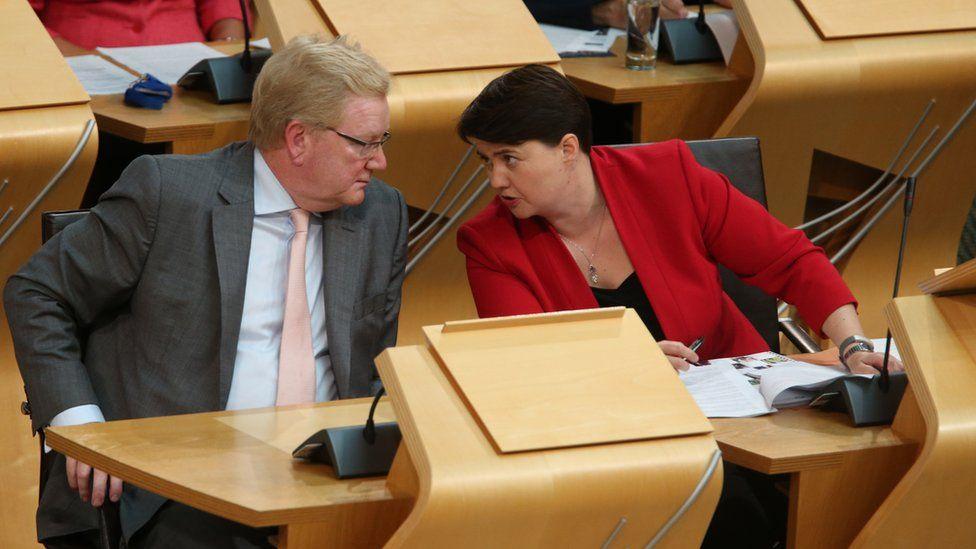 Scottish Conservative leader Ruth Davidson (right) with Deputy Scottish Conservative leader Jackson Carlaw