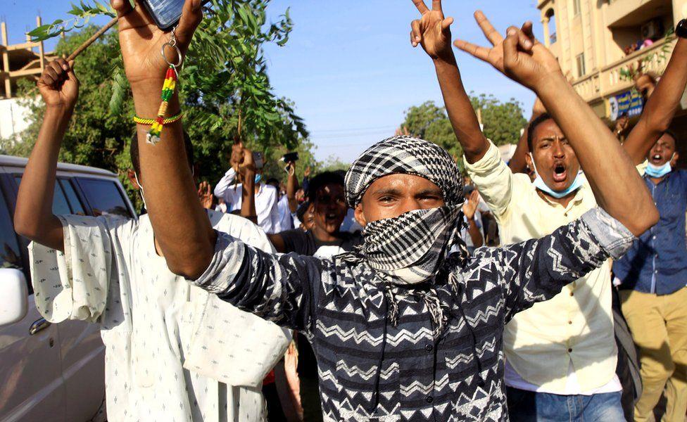 Demonstrators in Khartoum