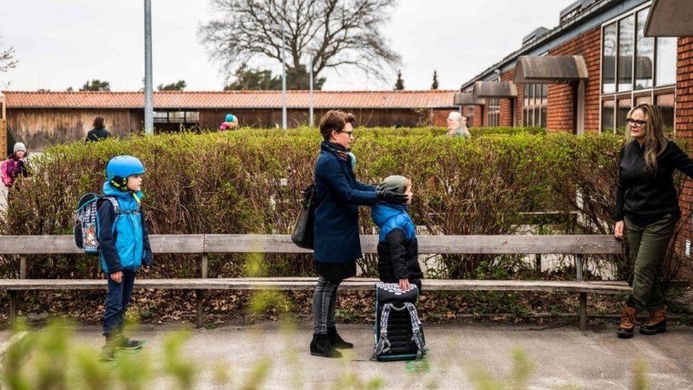 Children waiting to go into school in Copenhagen