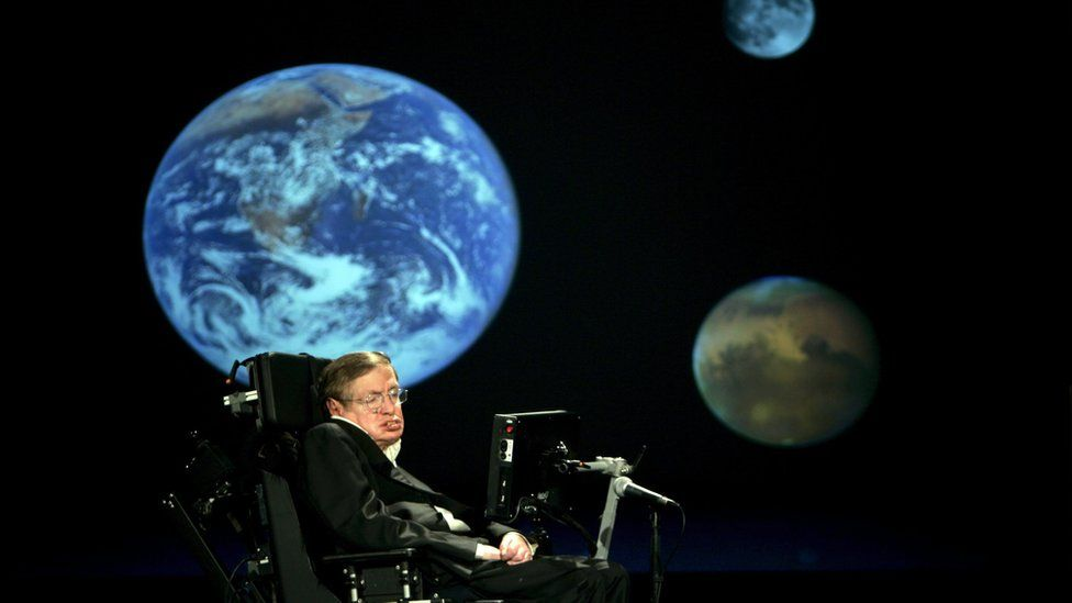 """Professor Stephen Hawking delivers a speech entitled """"Why We Should Go Into Space"""" at the The George Washington University in Washington, DC, USA, 21 April 2008."""