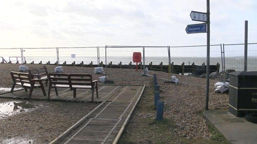 Cordoned off sea defences