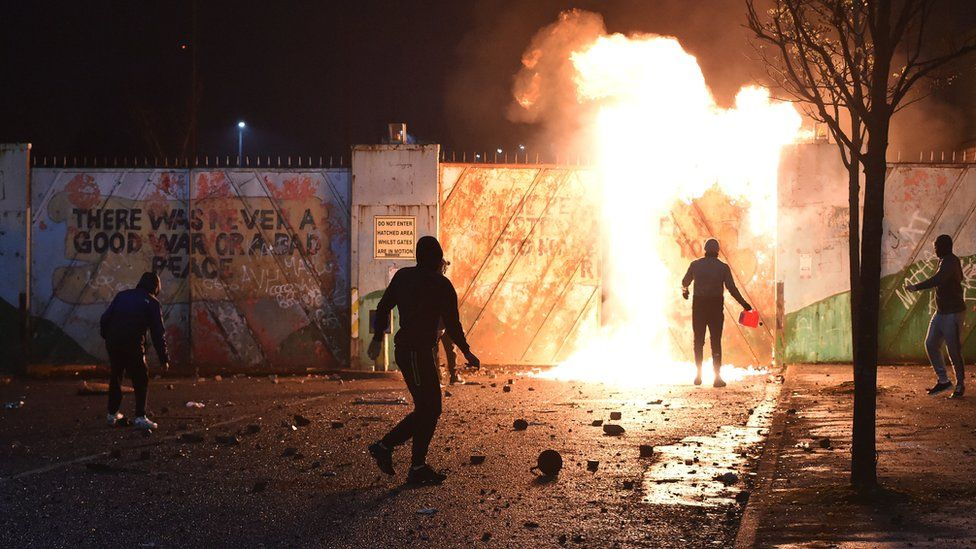 Night of violence on both sides of an interface in the loyalist Shankill and nationalist Springfield Road areas on Wednesday evening