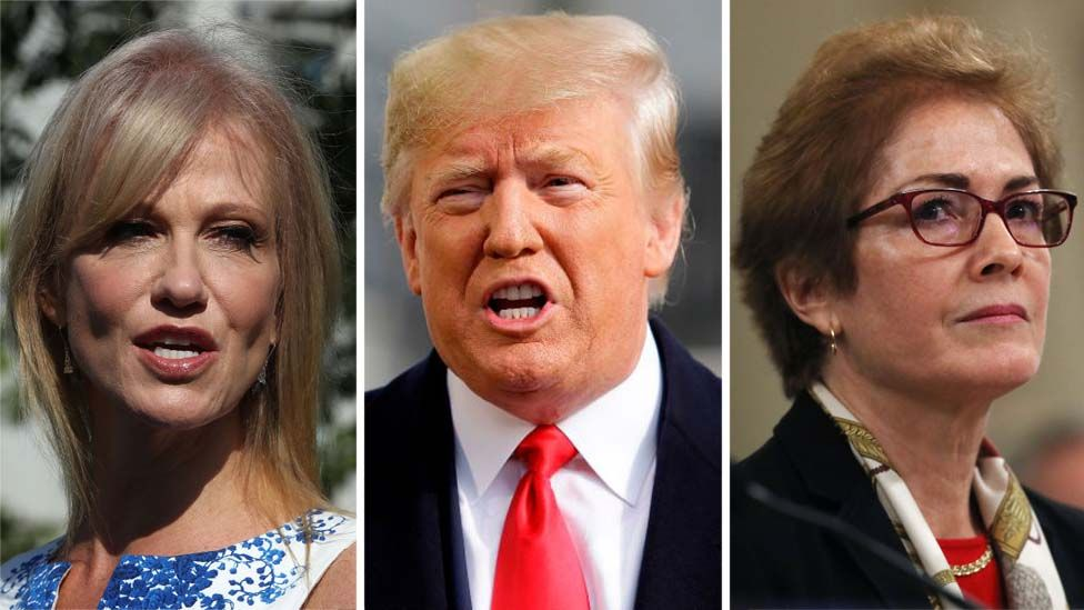 Composite image of Kellyanne Conway, Donald Trump, Marie Yovanovitch