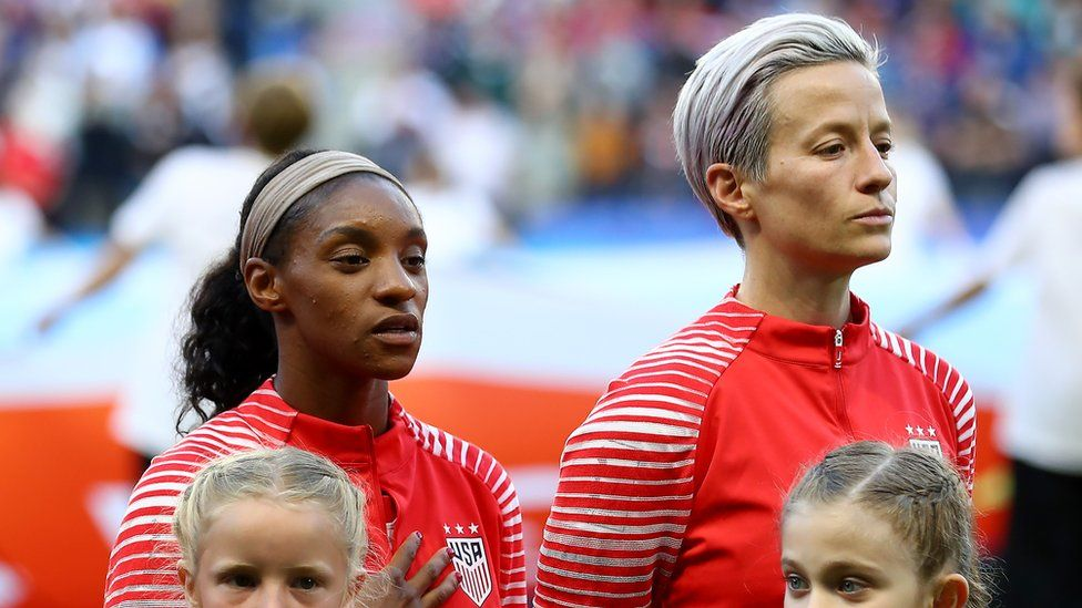 Megan Rapinoe of the USA refuses to sing the national anthem out of protest - 2019 FIFA Women's World Cup France group F match between Sweden and USA