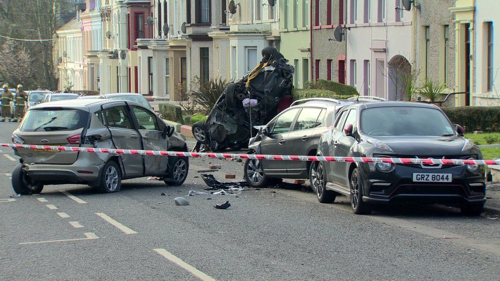 The scene of the fire engine crash in Larne