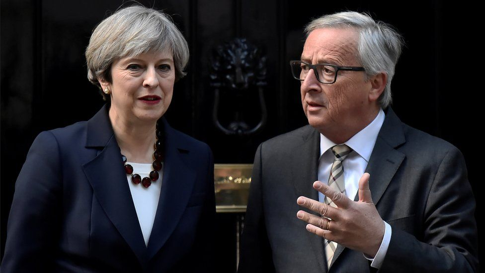 Theresa May welcomes Head of the European Commission, President Juncker to Downing Street in London, Britain April 26, 2017