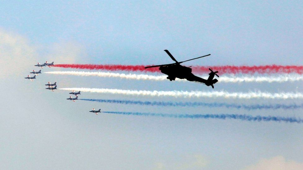 Jets accompanied the swearing-in ceremony in central Cairo