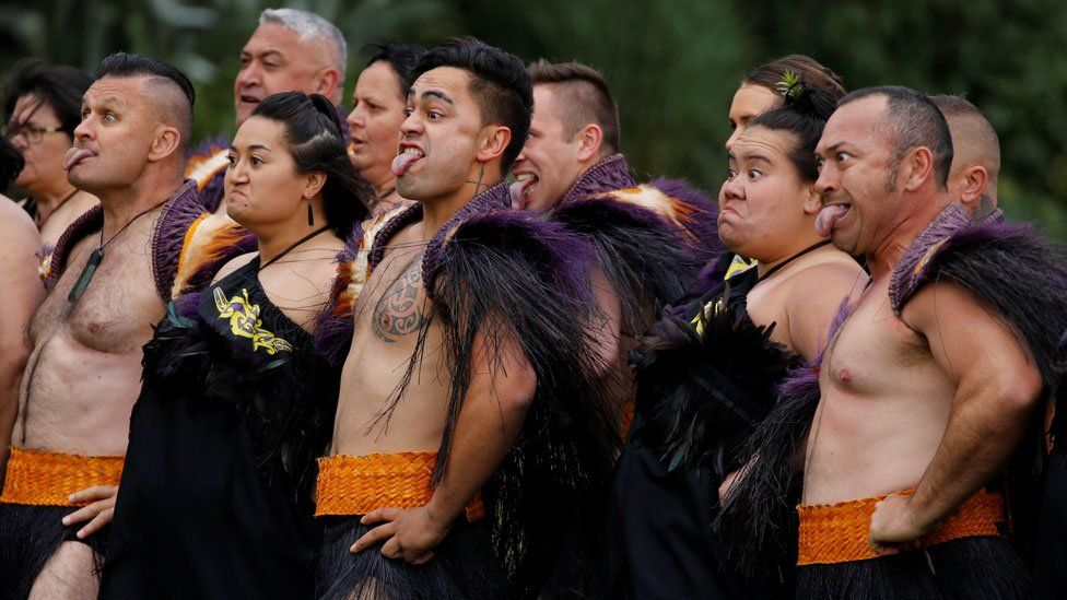 The traditional Maori welcome given to the duke and duchess
