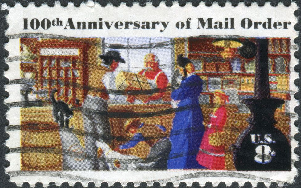 US stamp showing a rural post office to commemorate the centenary of mail order business