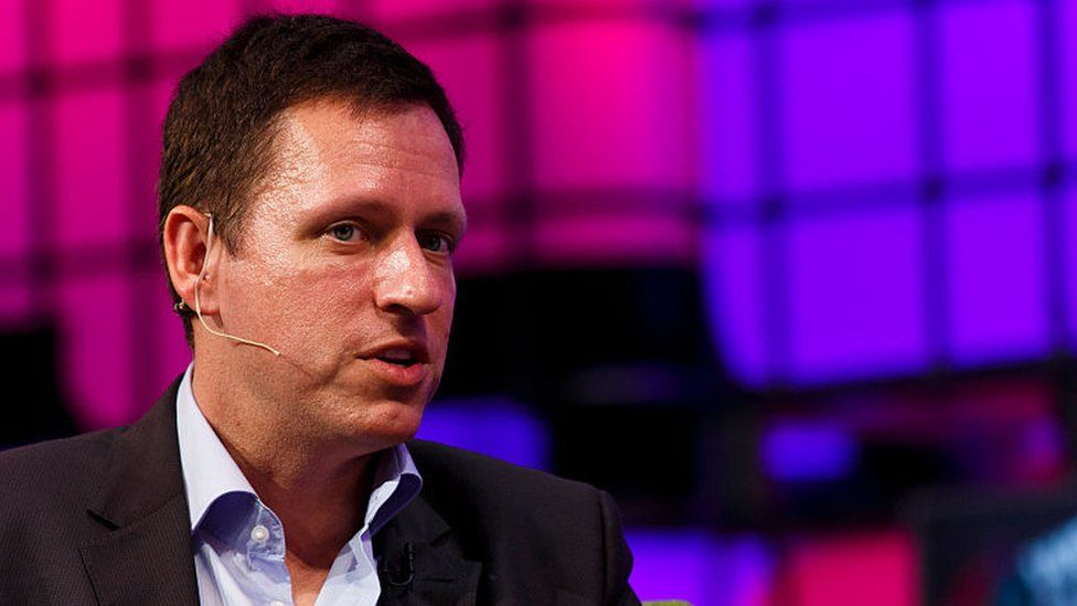 Peter Thiel, Founders Fund in conversation with Caroline Daniel from the Financial Times on the Web Summit Centre Stage at the 2014 Web Summit on 6 November 2014 in Dublin, Ireland
