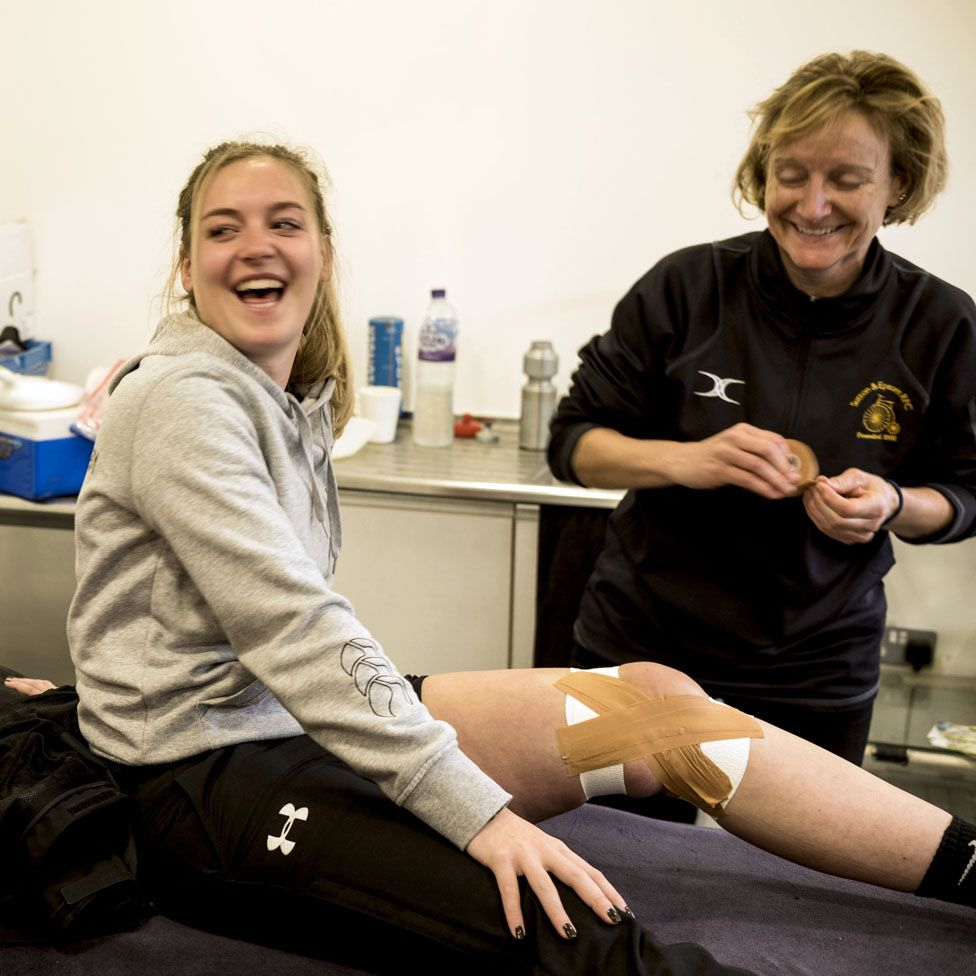 Verity Brooker with the physio