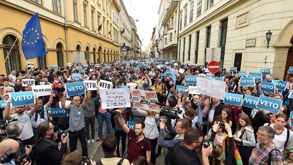 emonstrators protest against an amendment of the higher education law, seen by many as an action aiming at the closure of the Central European University, founded by Hungarian born American billionaire businessman George Soros,