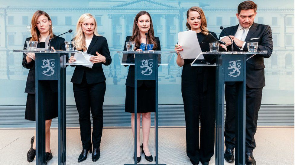 Finland's new government with new prime minister Sanna Marin centre