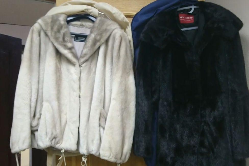 Fur coats in suspect's flat