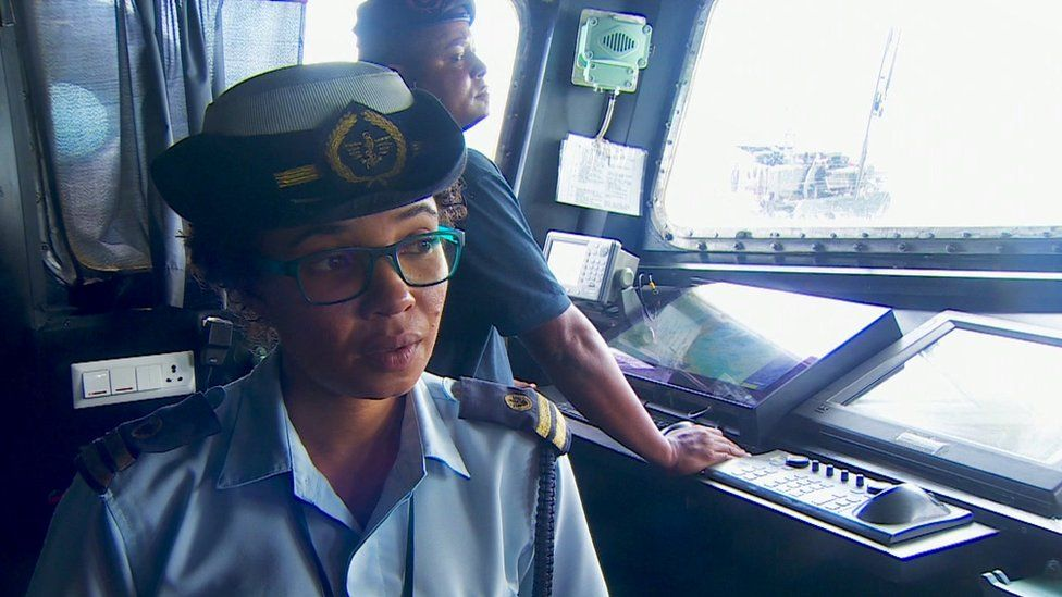 Lt Col Connie Anthony on board a patrol boat