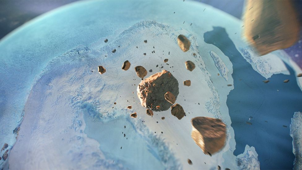 An artist's depiction of the iron meteorite hurtling through space before impacting in northwest Greenland