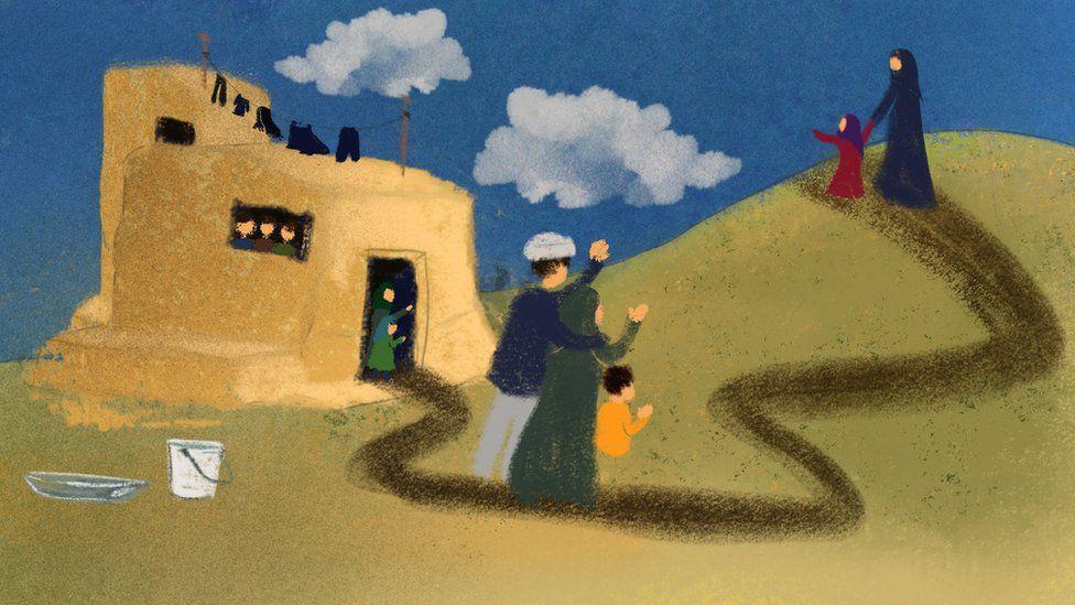 Ilustración que muestra a Nazanin abandonando el hogar familiar