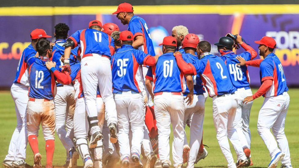 Cuba U-23 baseball players during World Cup match at Sonora Stadium on 1 October 1 in Hermosillo, Mexico