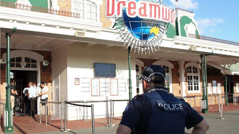 Policeman outside Dreamworld theme park in Australia. 25 Oct 2016