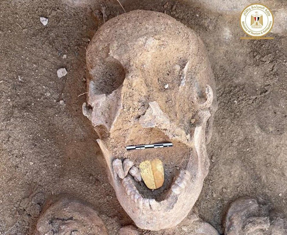 Ancient mummies with golden tongues unearthed in Egypt