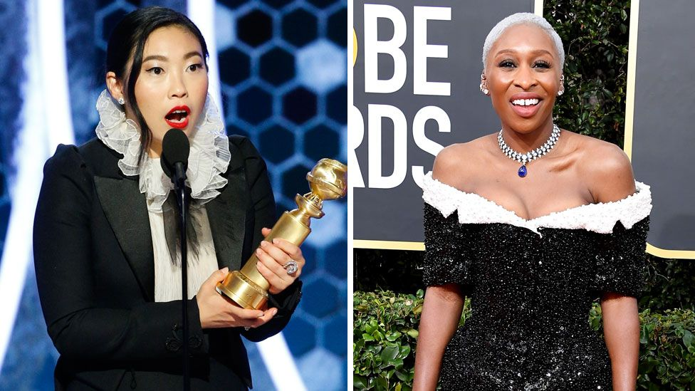Awkwafina won a Golden Globe for The Farewell, but Cynthia Erivo (r) who played slave-turned-abolitionist Harriet Tubman missed out on a Bafta nomination