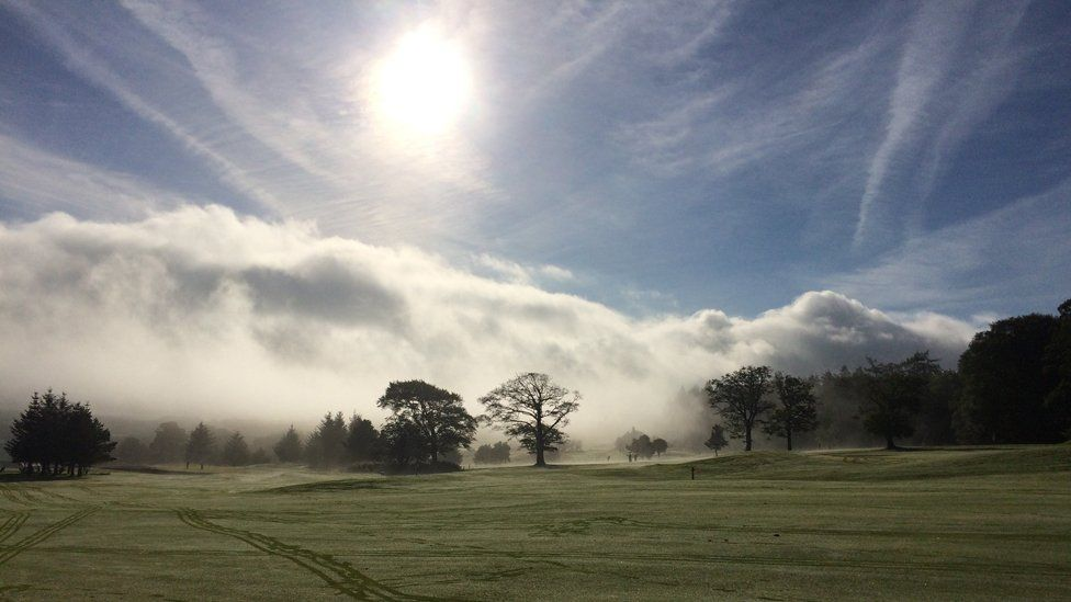 Mist over Gleddoch golf course