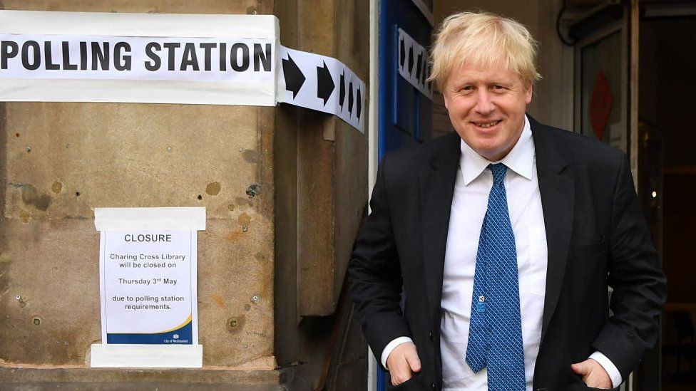 Boris Johnson outside a polling station