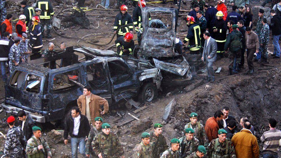 Vehicles destroyed in the bombing of the armed motorcade of former Lebanese Prime Minister Rafik Hariri, in Beirut, Lebanon, 14 February 2005