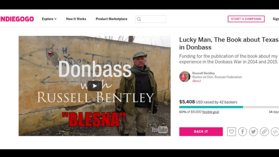 Russell Bentley's Indiegogo campaign