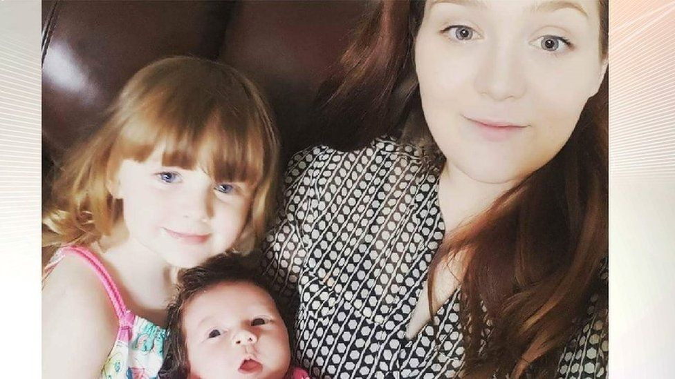 Rebecca Fisher with children Elsa (right) and Cleo
